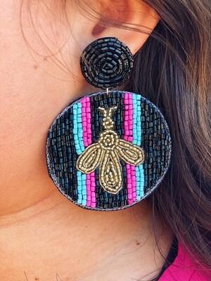 Pink & Blue Beaded Bee Earrings