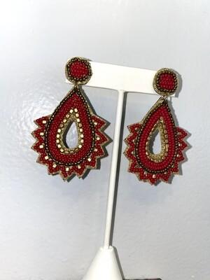 Red Beaded Teardrop Spike Earrings