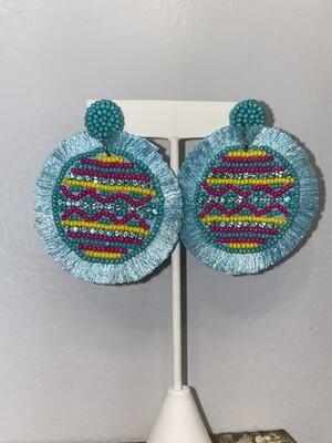 Blue Beaded Pattern Earrings