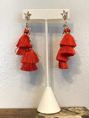 Red Tassel With Star Stud Earrings