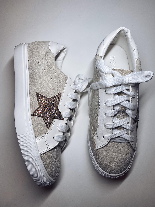 Beige Suede Star Sneakers