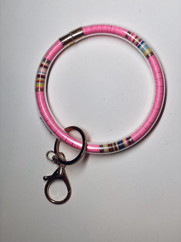 Pink Rubber Bead Keychain Bangle