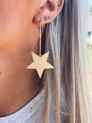 Star Dangle Hoop Earrings