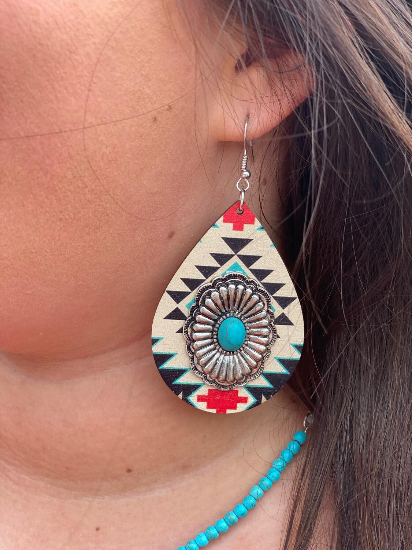 Wooden Aztec Earrings