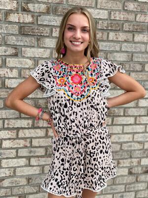 Savanna Jane Leopard Embroidered Romper