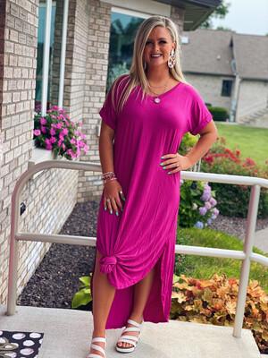 Hot Pink V Neck Maxi Dress