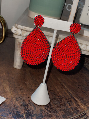 Red Shimmer Beaded Teardrop Earrings