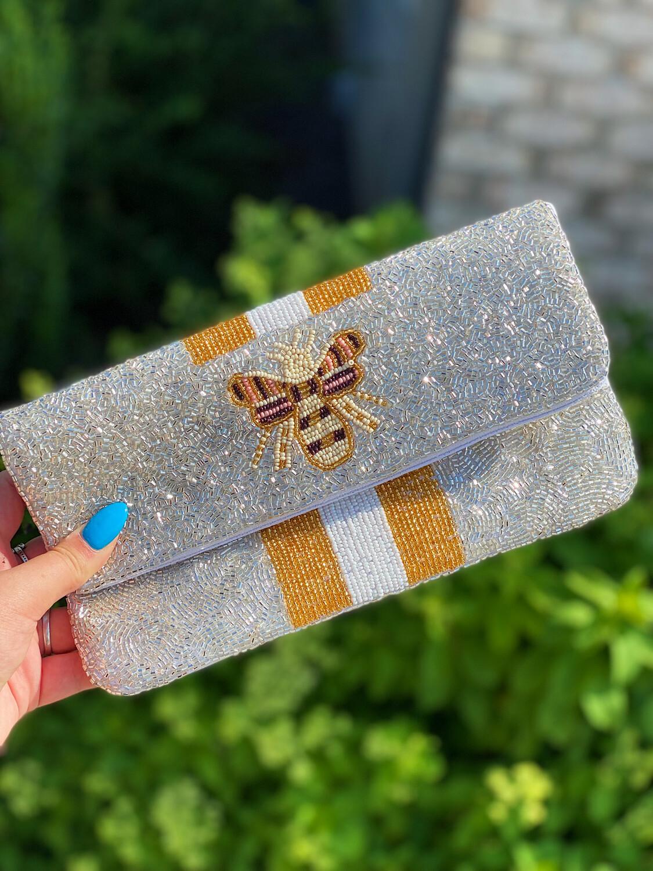 Silver Beaded Bee Handbag