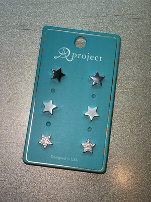 Silver Star Studs 3 Pack