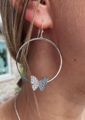 Silver Rhinestone Butterfly Earrings