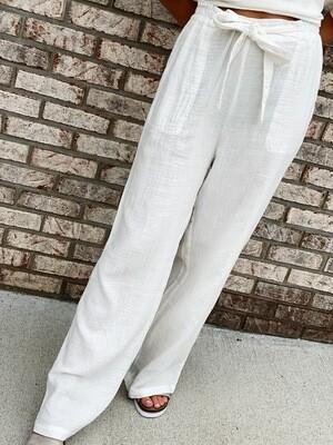 Off White Gauze Waist Tie Pants