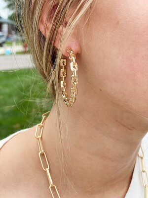 Gold Chain Link Hoops