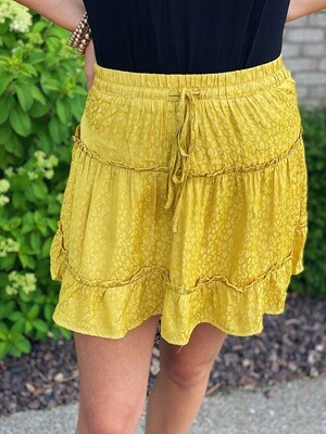 Mustard Leopard Print Mini Skirt