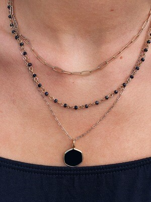 Gold Black Beaded Layered Necklace
