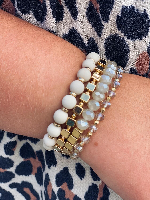 Cream & Gold Bracelet Set