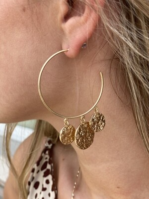 Gold Coin Hoops Earrings