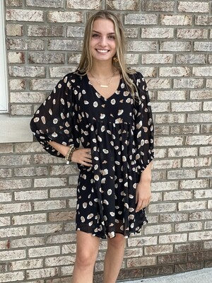 Black Cheetah Print Puff Sleeve Dress
