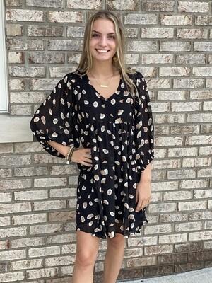 Plus Black Cheetah Print Puff Sleeve Dress
