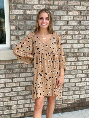 Taupe Cheetah Print Puff Sleeve Dress