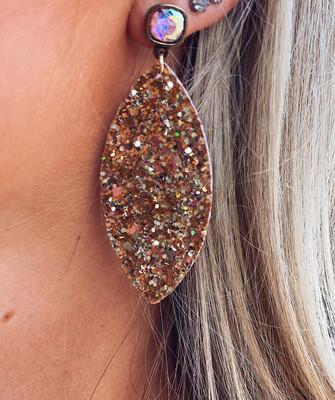 Gold Jewel Post Earrings