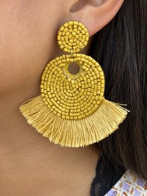 Yellow Beaded Fringe Earrings