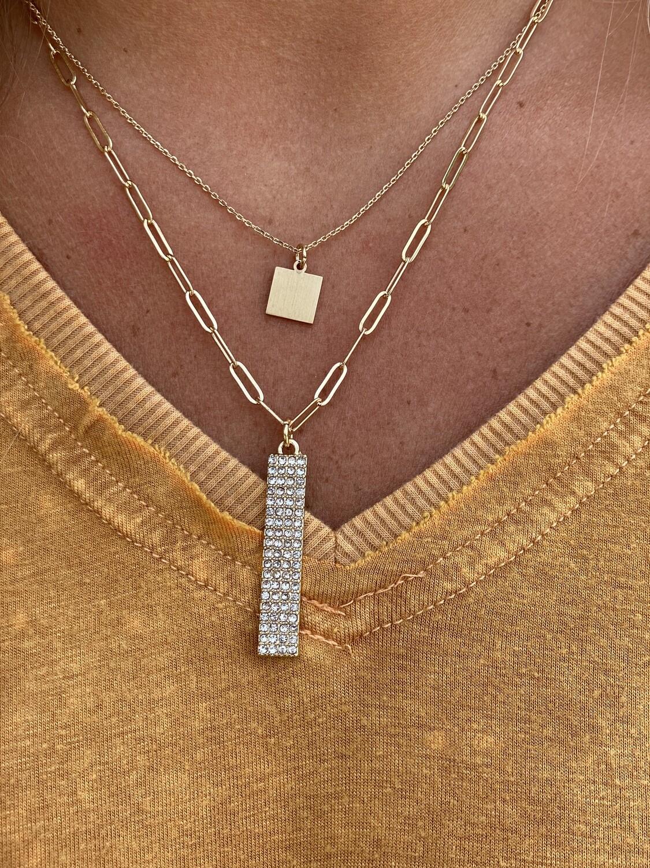 Gold Rhinestone Rectangle Layered Necklace