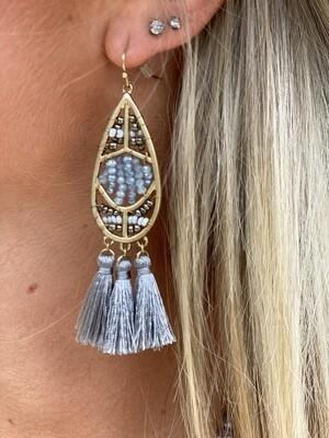 Grey Tassel Bead Earrings