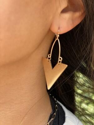 Worn Gold V Shape Earrings