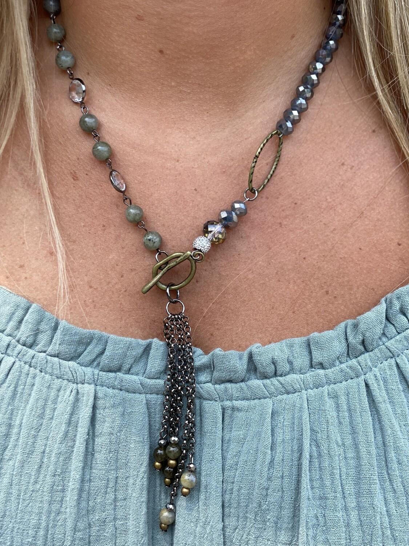 Cream & Grey Mixed Beaded Toggle Necklace
