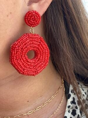 Red Shimmer Circle Beaded Earrings