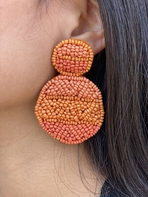 Orange Tri-Tone Beaded Earrings