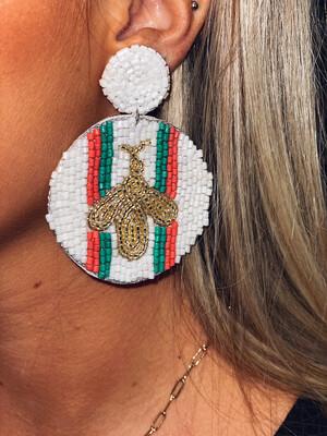 Red & Green Beaded Bee Earrings