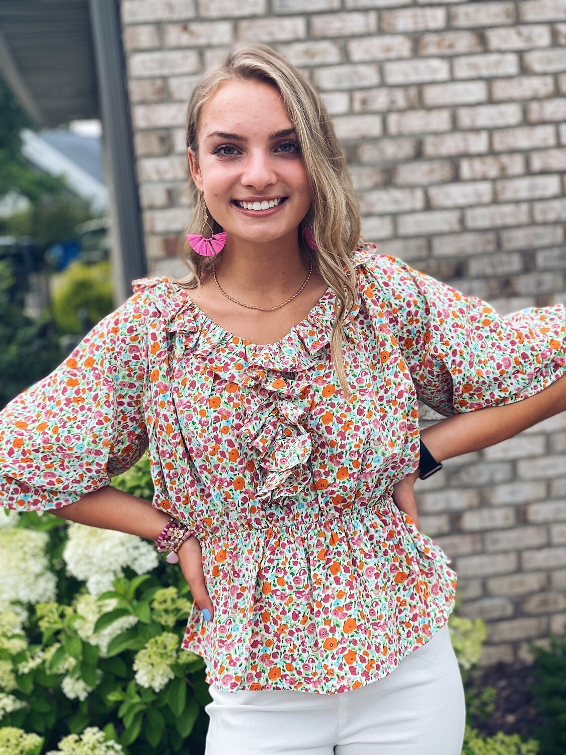 Cinched Waist Ruffled Floral Top