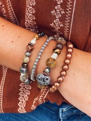 Copper Mixed Beaded Bracelet Set