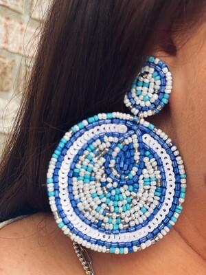 Blue & White Circle Beaded Earrings