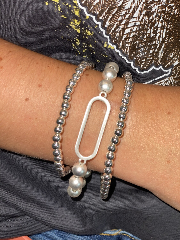 Silver Open Oval Bracelet Set
