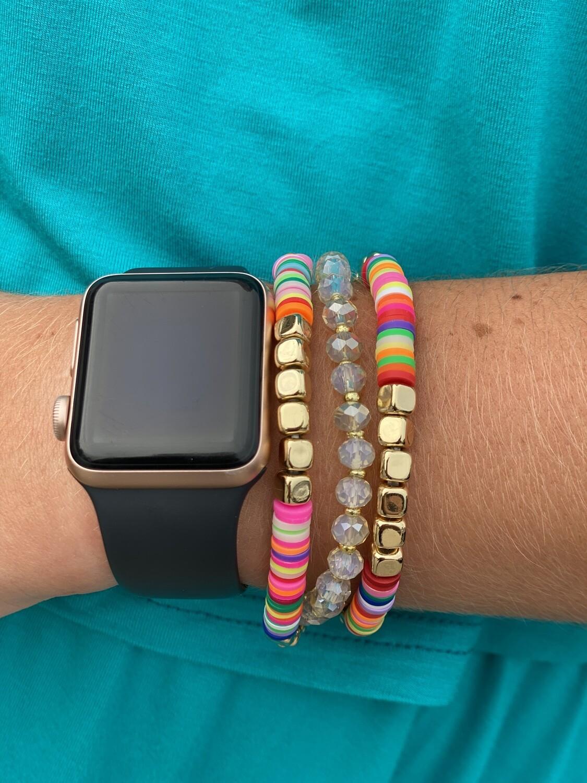 Rainbow Rubber Bead Bracelet Set