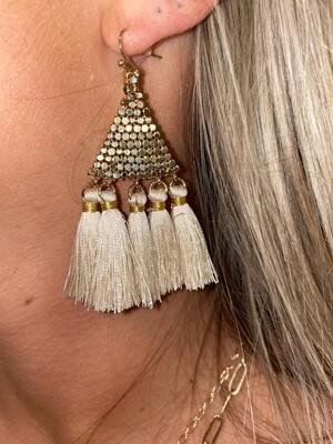 Cream Tassel Elegant Earrings
