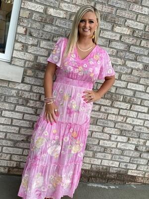 Savanna Jane Pink Embroidered Maxi Dress