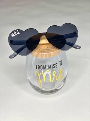 Miss To Mrs Wine Glass Set