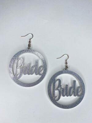 Silver Glitter Bride Earrings