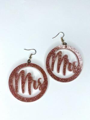 Pink Glitter Mrs. Earrings