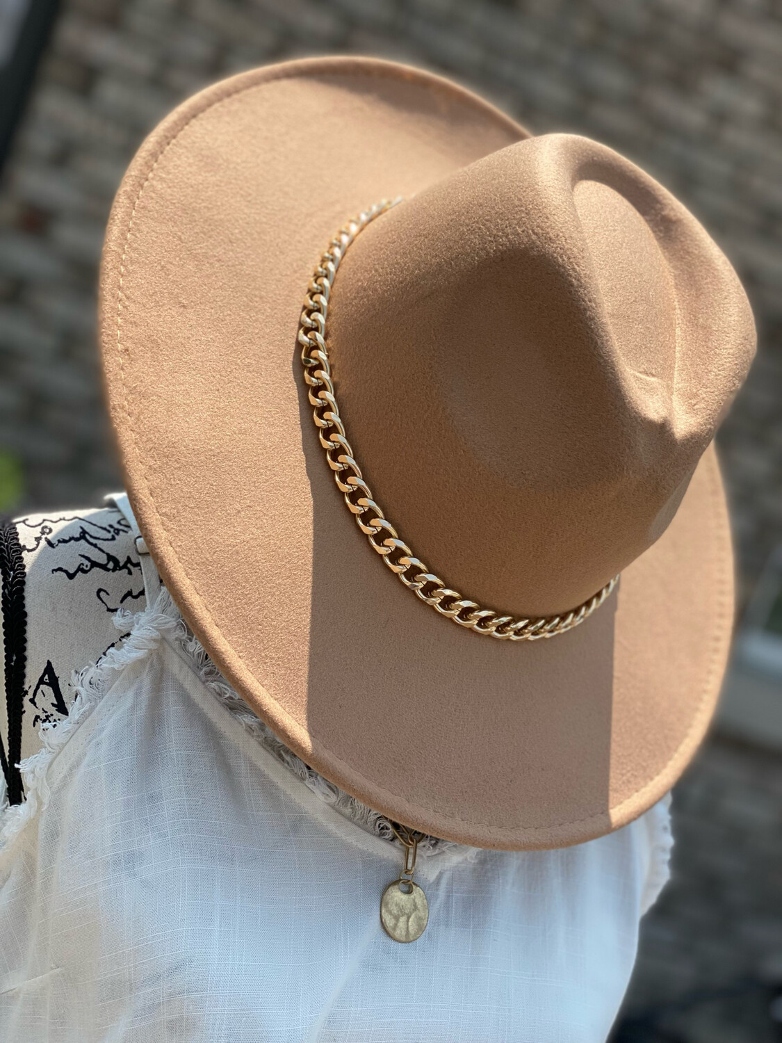 Tan Structured Hat w/ Gold Chain