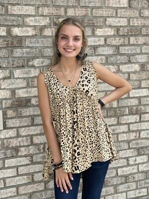 Taupe Cheetah Ruffle Tank