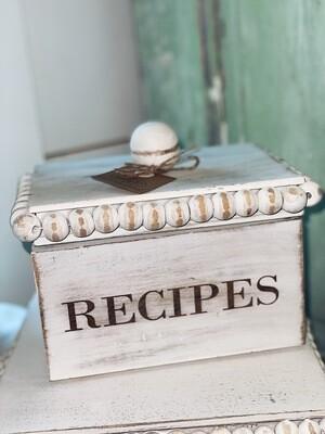 White Wooden Recipe Box