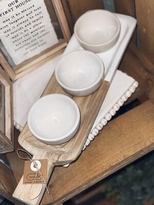 Wooden Dip Tray & 3 Bowls