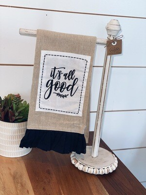 White Wood Beaded Towel Rack