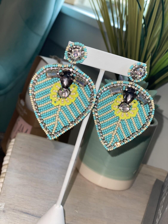 Blue Rhinestone Leaf Earrings
