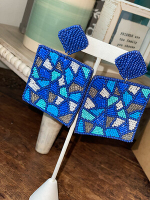 Blue Geometric Beaded Earrings