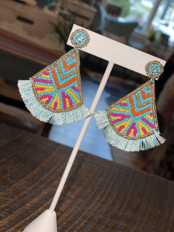 Blue Multi Beaded Tassel Trim Earrings